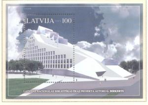 Latvia Sc 623 2005 National Library stamp sheet mint NH
