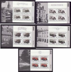 Guernsey-Sc#531a-35a-five unused NH booklet panes-Classic Cars-Automobiles
