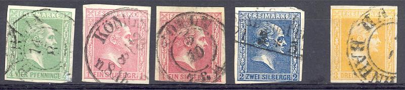 Prussia #9, 11 12 13 used  VF- all signed Flemming