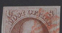 US Stamp #1 (e) Rare Double Transfer SSCV $1750