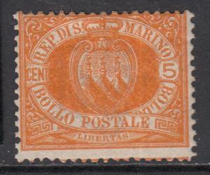 SAN MARINO 1877  5 cent.  Sassone n.2a MH* cv 290$ SIGNED FERRARIO
