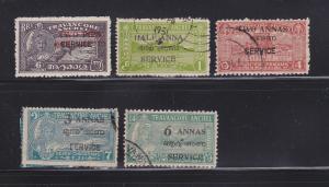 India Travancore-Cochin O1, O3, O5-O7 U Various