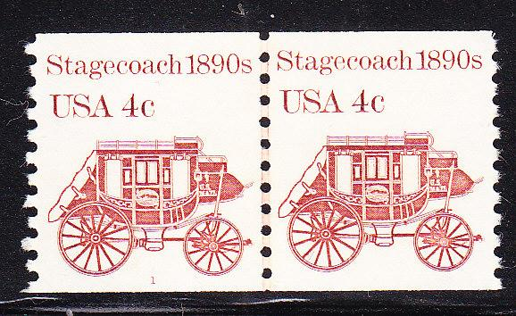 4c Stagecoach 1890's Coil Line Pair Plate Number-1  VF/NH