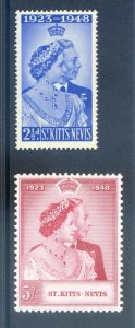 St Kitts - Nevis 1948 Silver Wedding SG80/1 Mounted Mint