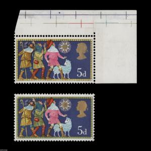 Great Britain 1969 (Error) 5d Christmas missing green. SG813d; SC606var