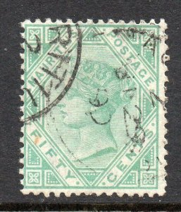 Mauritius 1879 50c green SG 99 used