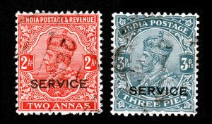 INDIA KING GEORGE V POSTAGE SERVICE STAMPS 2 ANNAS AND 3 PIES USED