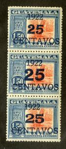 GUATEMALA 199, 199a, 199b MH STRIP/3 SCV $1.85 BIN $0.95 MONUMENT