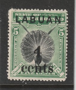 Labuan a MH 4c on 5c from 1904