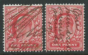 Great Britain - Edward VII SG 219  two copies signature cancel