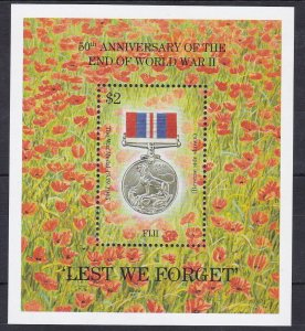FJ65) Fiji 1995 50th Anniversary of the End of WWII M/S MUH. Price: $4.50