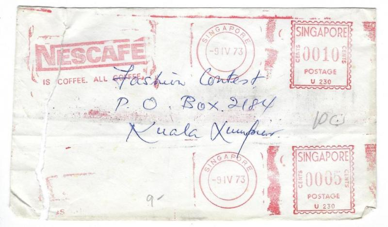 1973 Singapore Cover - Nescafe Coffee - Double Meter Stamped (RR21)