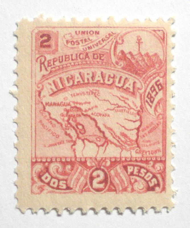 STAMP FROM NICARAGUA YEAR 1896. SCOTT # 88. UPH