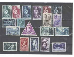 MONACO 1946 #198-202+B93;#B85-B90;#B92;#B95;#209-213 EXTREMLEY LIGHT HINGE REMAN