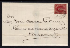 Argentina, 1866 Rivadavia,5th. printing  on folded cover. Very Fine Used