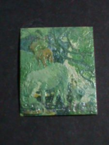 BHUTAN STAMP-COLORFUL OIL PAINTING STAMP-LOVELY ELEPHANTS MINT STAMP- VF
