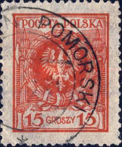 POLOGNE / POLAND / POLEN - 1925 part  KAMIEŃ POMORSKI  CDS on Mi.206 15Gr red