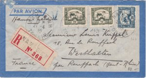 Indo-China Registered Cover Mailed to France in 1939