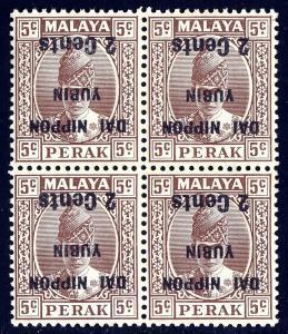 MALAYA (PERAK)— SCOTT N28b (SG J261b) — 1942 INVERTED OVPT.— MNH BLK/4— SCV $200