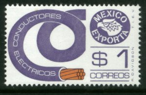 MEXICO Exporta 1115, $1P Electrical Cond. LT VIOLET Fluor Paper 6 MINT, NH. VF.