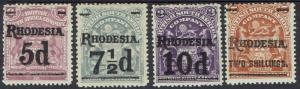RHODESIA 1909 ARMS SURCHARGE SET