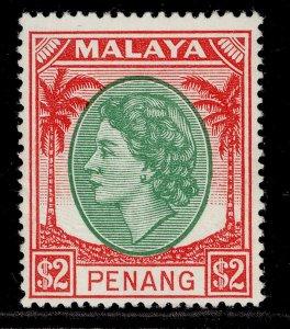 MALAYSIA - Penang QEII SG42, $2 emerald & scarlet, NH MINT. Cat £21.