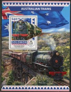 SOLOMON ISLANDS  2017 AUSTRALIAN TRAINS  SOUVENIR SHEET MINT NH