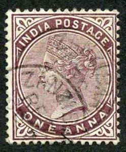 Zanzibar SGZ83 1882-90 India 1a Brown-purple with CDS (type Z6) Used