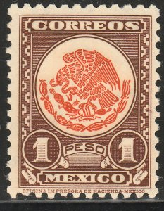 MEXICO 719, $1P COAT OF ARMS 1934 DEFINITIVE SINGLE MINT, NH. VF.
