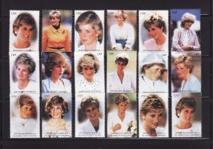 Comoro Islands 813a-813l, 814a-814f Set MNH Princess Diana