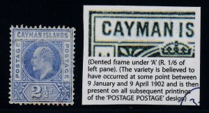 Cayman Islands, SG 10a, used Dented Frame variety