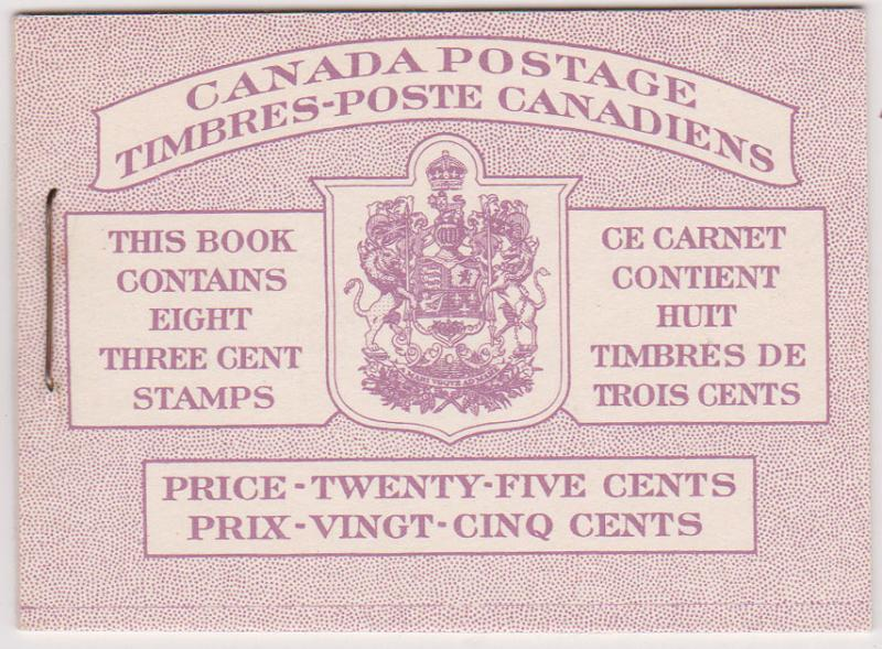 Canada USC #BK40b Bilingual Cat. $19.50 1950 KGVI Booklet Type II VF-NH
