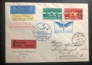 1937 Zurich Switzerland Airmail Special Flight Exhibition cover To Sitten Sc#c10