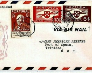 PORTUGAL FFC Lisbon TRINIDAD BWI 1948 PAN-AM Air Mail First Flight Cover CS308