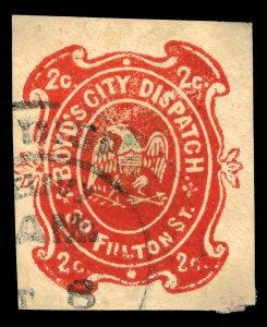 #20LU13 1867 Boyd's City Dispatch Local Envelope on Diagonal Laid Used