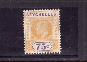 Seychelles-Sc#60- unused light hinged KEVII-75c yellow & pur-1906-