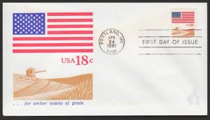 US FDC #1890 18c ...for 'amber waves of grain' - Andrews Cachet
