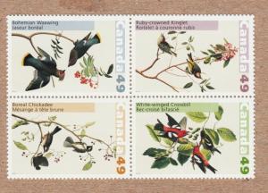 AUDUBON'S BIRD CHICKADEE WAXING KINGLET 2004 Canada 2036-2039 Block of 4 MNH q01