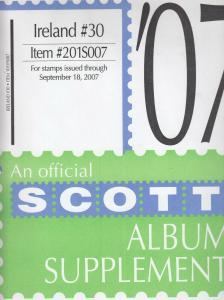 Scott Album Supplement Ireland #30 Stamps Through Sept 2007