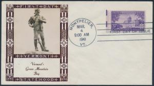 #903 ON FIRST DAY COVER BY LOUIS WEIGAND MARCH 4,1941 MONTPELIER, VT BR9876