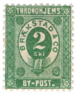 (I.B-CK) Norway Local Post : Throndheim 2sk (Brækstad & Co) small format