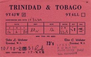 7135 Amateur Radio QSL Card  TRINIDAD & TOBAGO