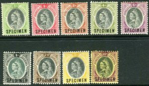 SOUTHERN NIGERIA-1901-2  A mounted mint OVPT SPECIMEN set to 10/- Sg 1s-9s