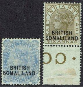 BRITISH SOMALILAND 1903 QV INDIA 2A6P AND 6A OVERPRINT AT BOTTOM