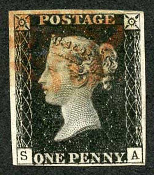 Penny Black (SA) Plate 6 Re-entry Fine 4 margins