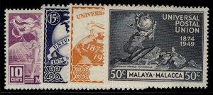 MALAYSIA - Malacca GVI SG18-21, anniversary of UPU set, NH MINT.