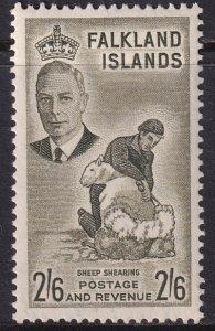 1952 Falkland Island Sheep Shearing 2/6 issue MLMH Sc# 117 CV $22.50