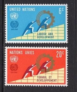 United Nations  New York  #199-200 1969  MNH   labor and development