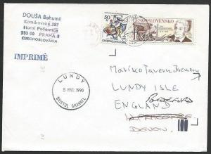 CZECHOSLOVAKIA TO LUNDY 1990 cover with arrival cds on front...............48755