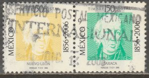 MEXICO 2526l,r. 1st Mexican Stamps 150th Anniv. PAIR USED. VF. (1146)